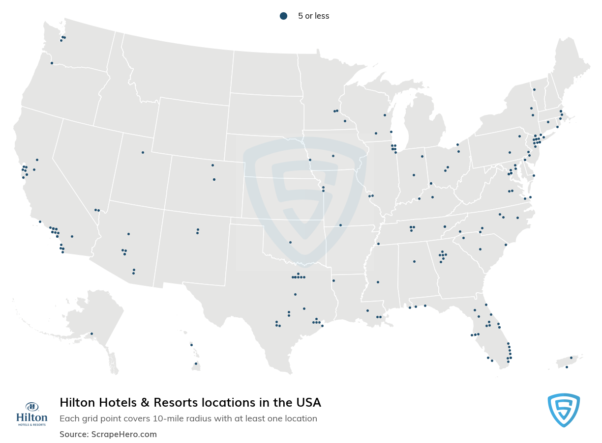 Hilton Hotels and Resorts Locations in the USA