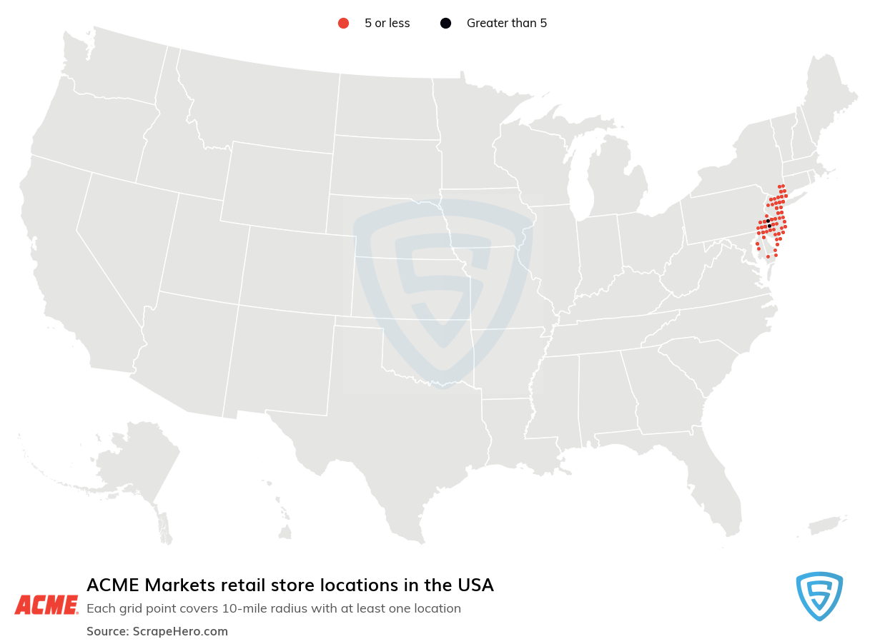 ACME Markets Store locations in the USA