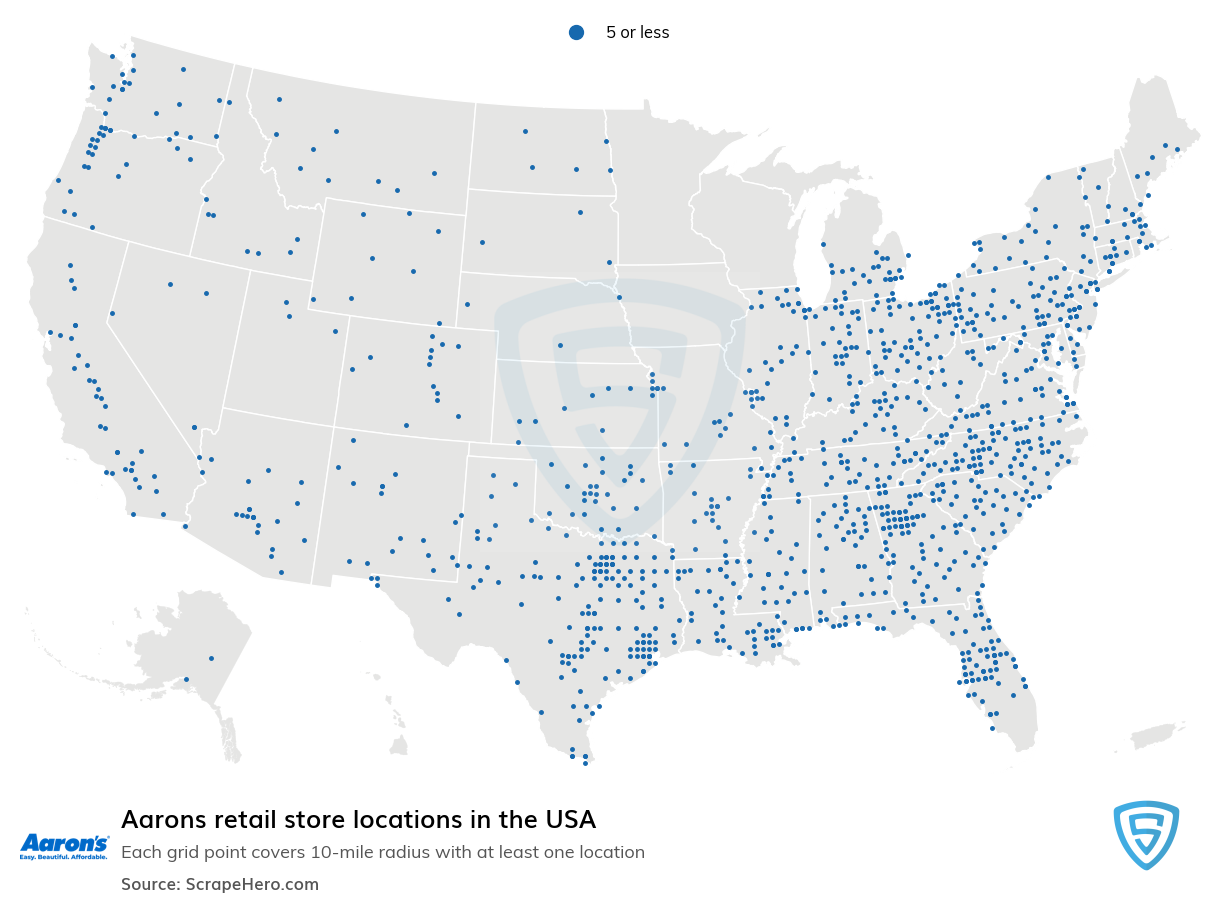 Aarons Store locations in the USA