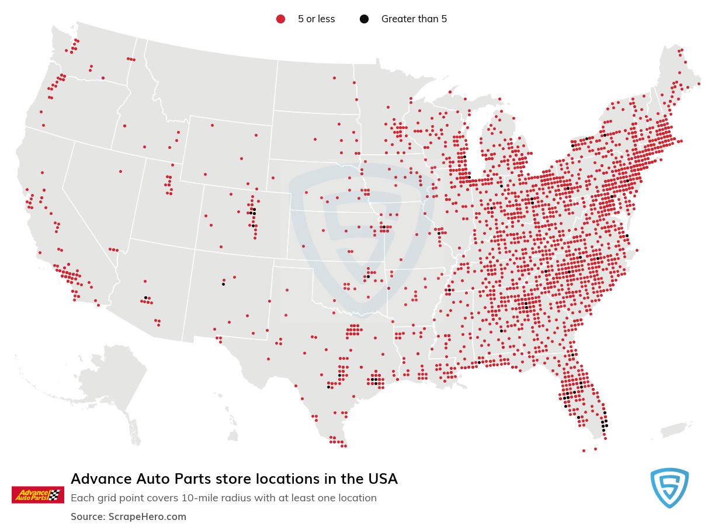 Advance Auto Parts Store locations in the USA