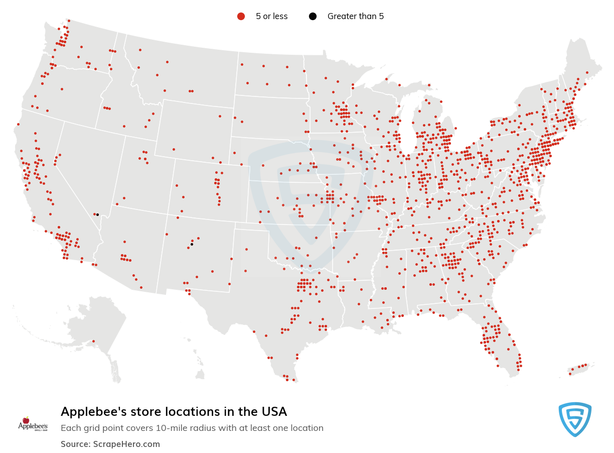 Applebee's  Store Locations in the USA