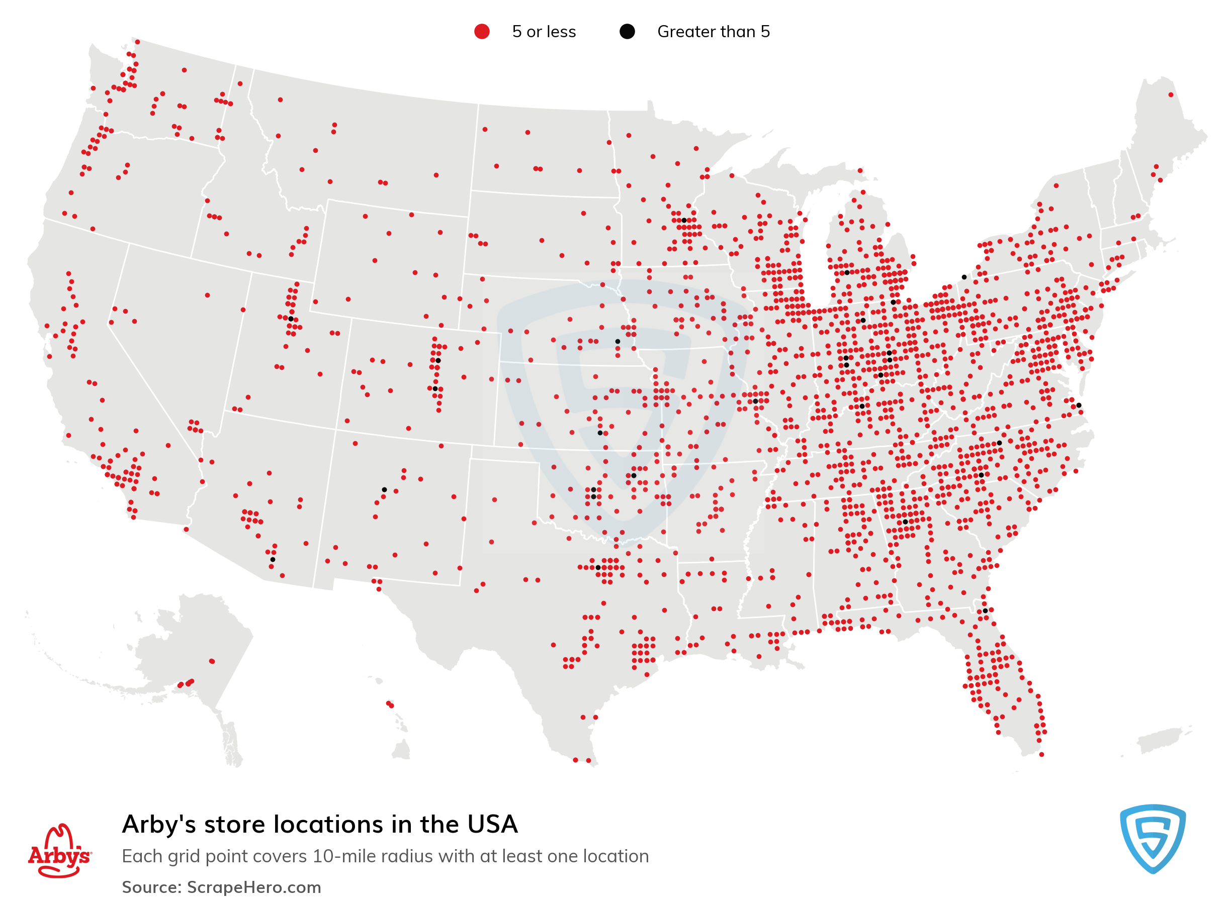 Map of Arby's locations in the United States in 2021