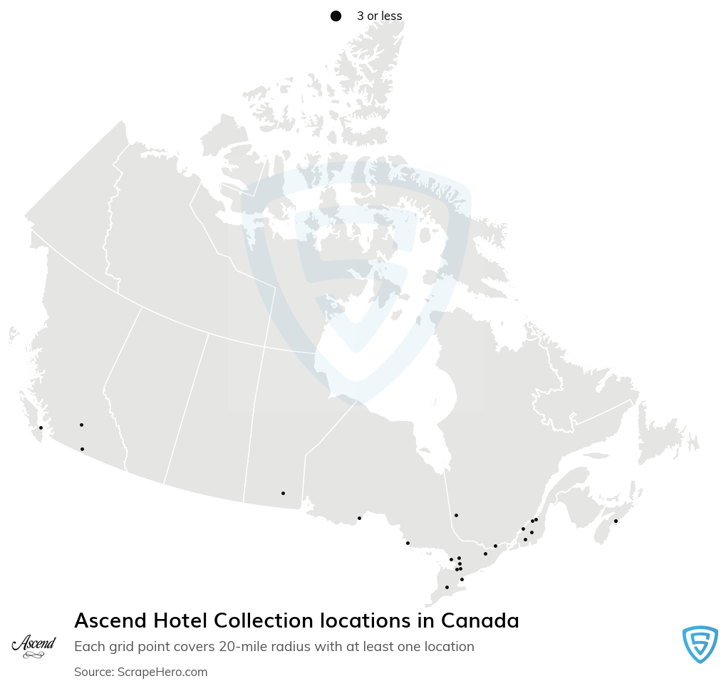 Ascend Hotel Collection locations in the Canada