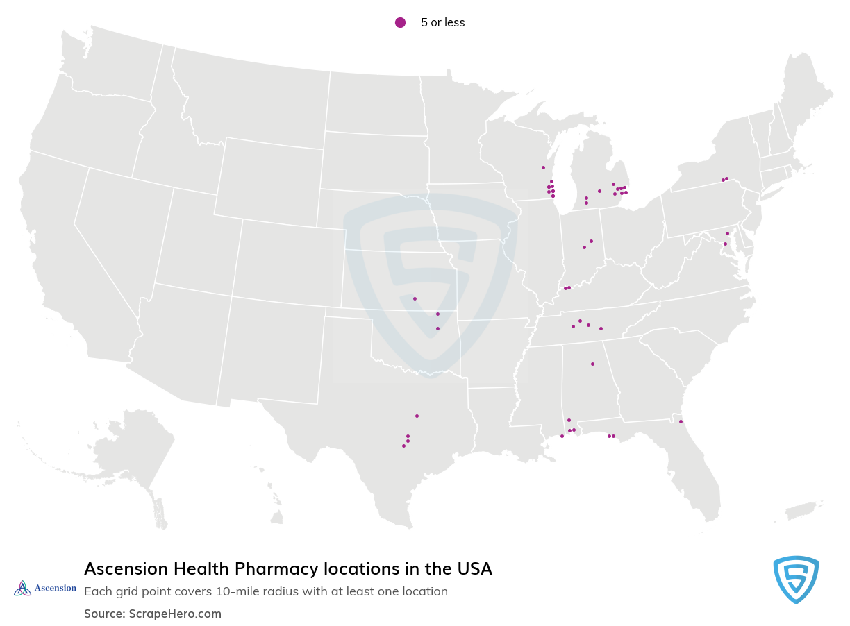 Ascension Health Pharmacy locations in the USA