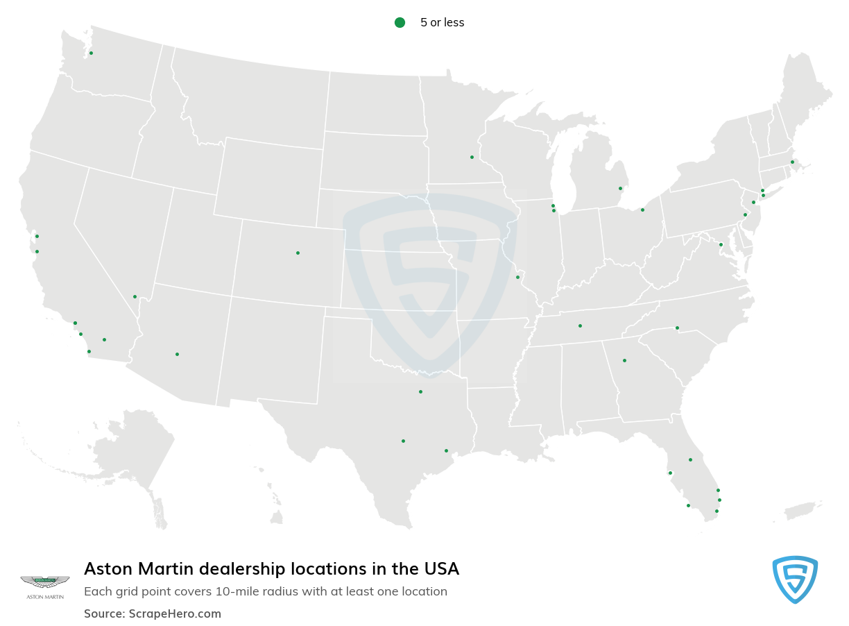 Aston Martin Dealership locations in the USA