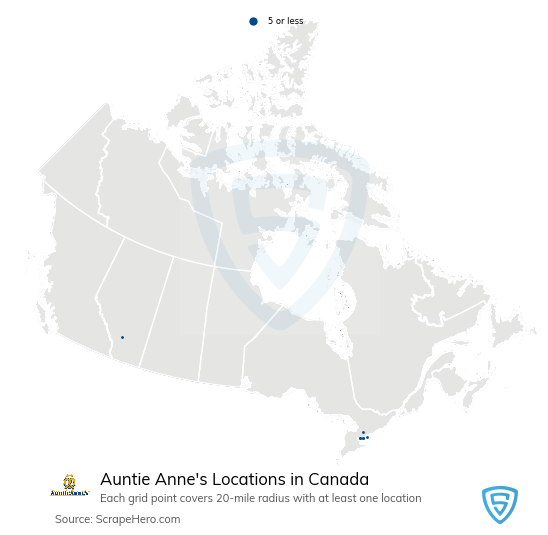 Auntie Anne's Store locations in the Canada