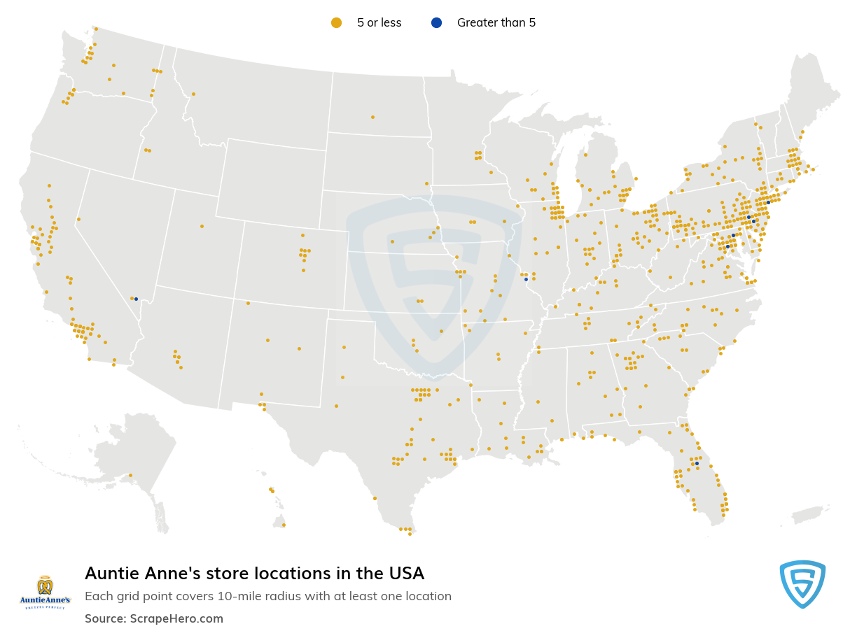 Auntie Anne's Store locations in the USA