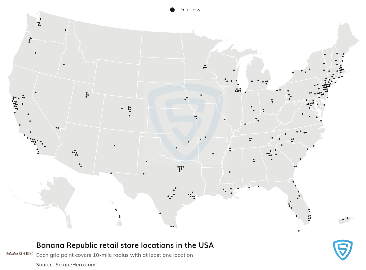 Banana Republic Store locations in the USA