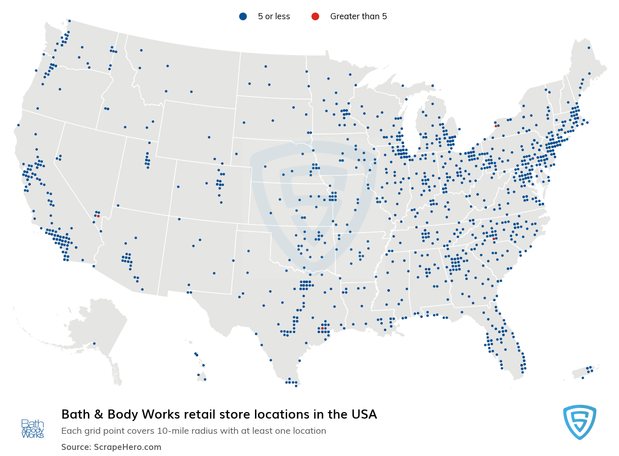 Bath & Body Works Store locations in the USA