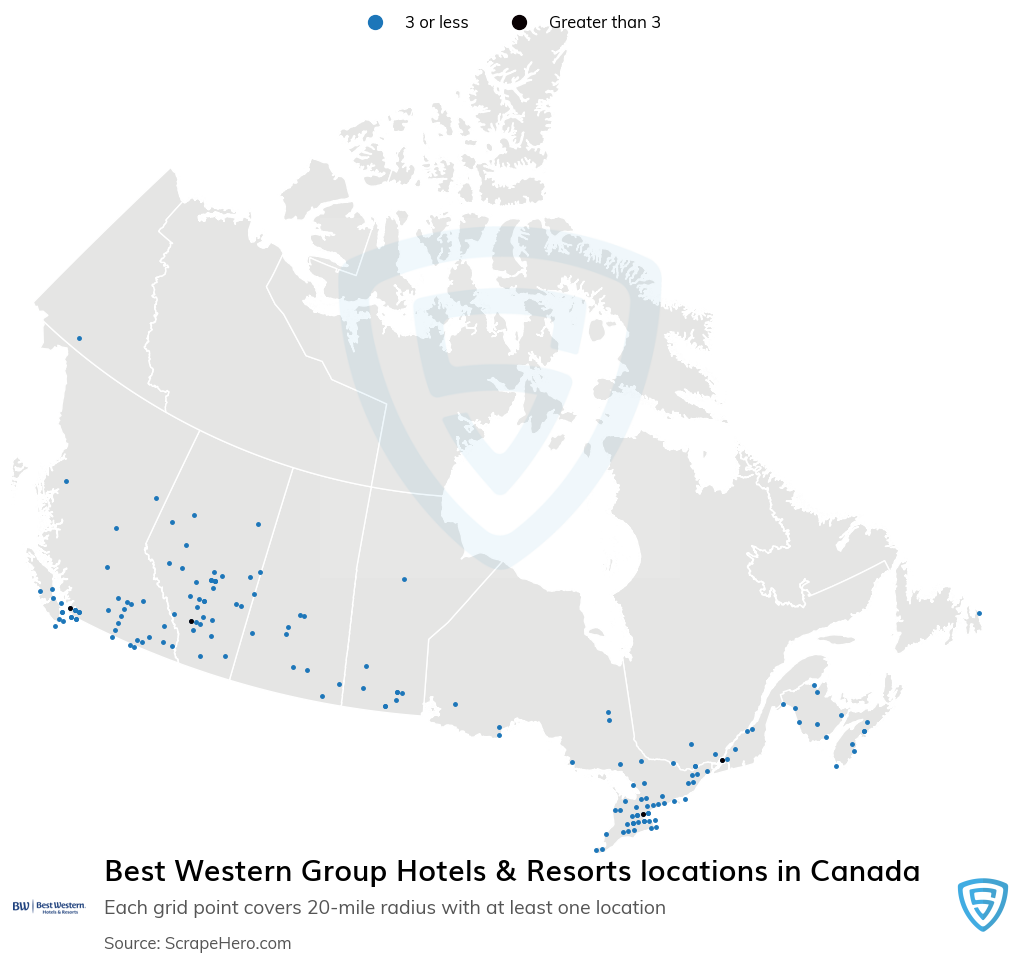 Best Western Group Hotels & Resorts locations in the Canada