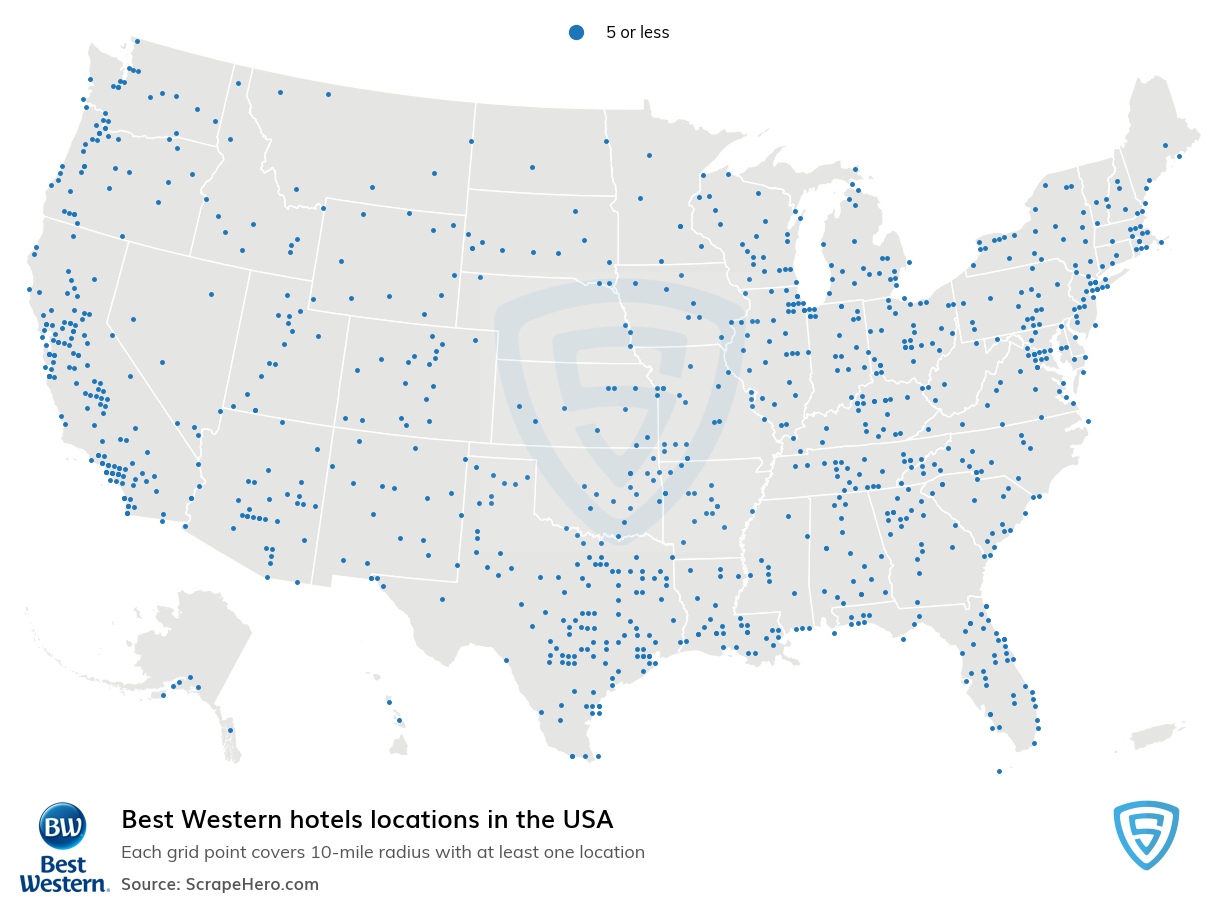Best Western Hotels locations in the USA
