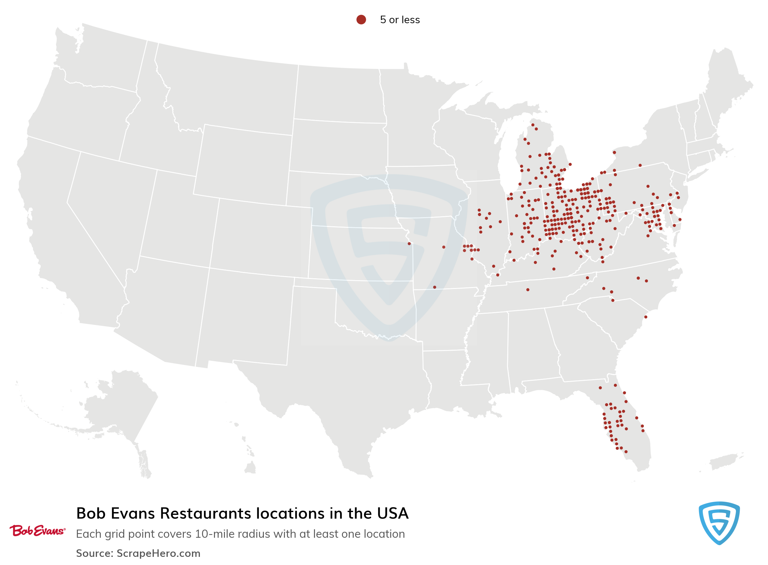 Map of Bob Evans Restaurants locations in the United States in 2021