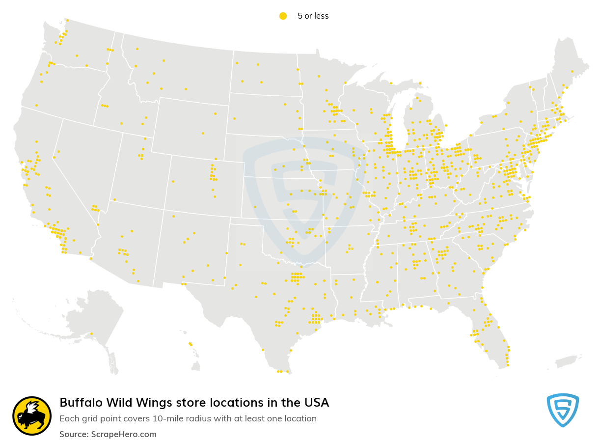 Buffalo Wild Wings Store locations in the USA