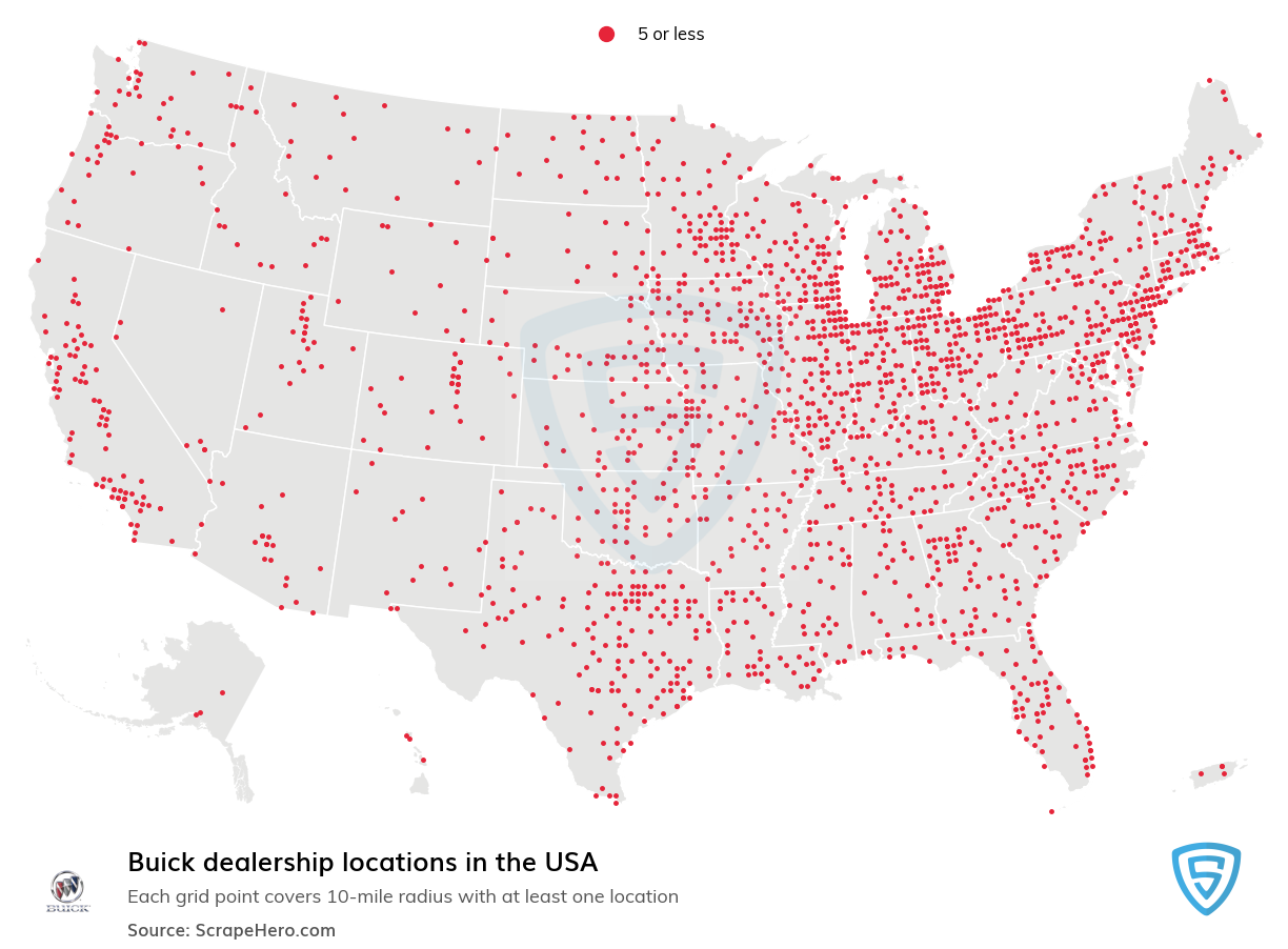 Buick Dealership locations in the USA