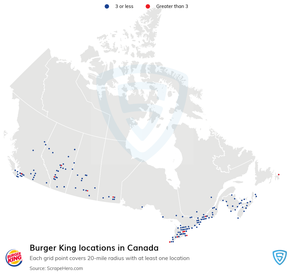 Burger King Store locations in the Canada