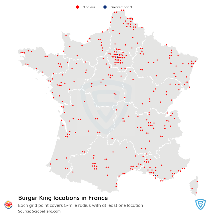 Burger King Store locations in France