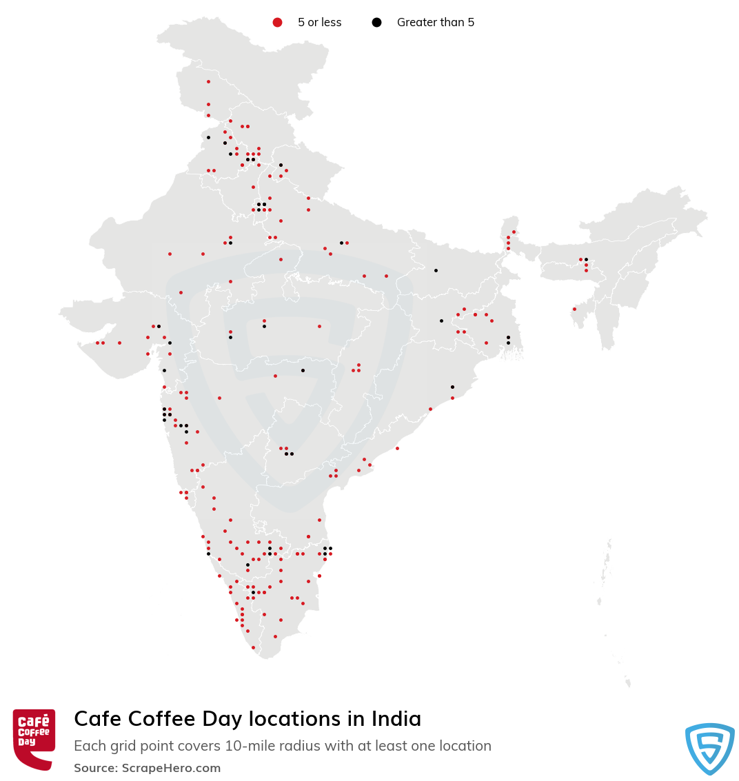 Cafe Coffee Day Store locations in India