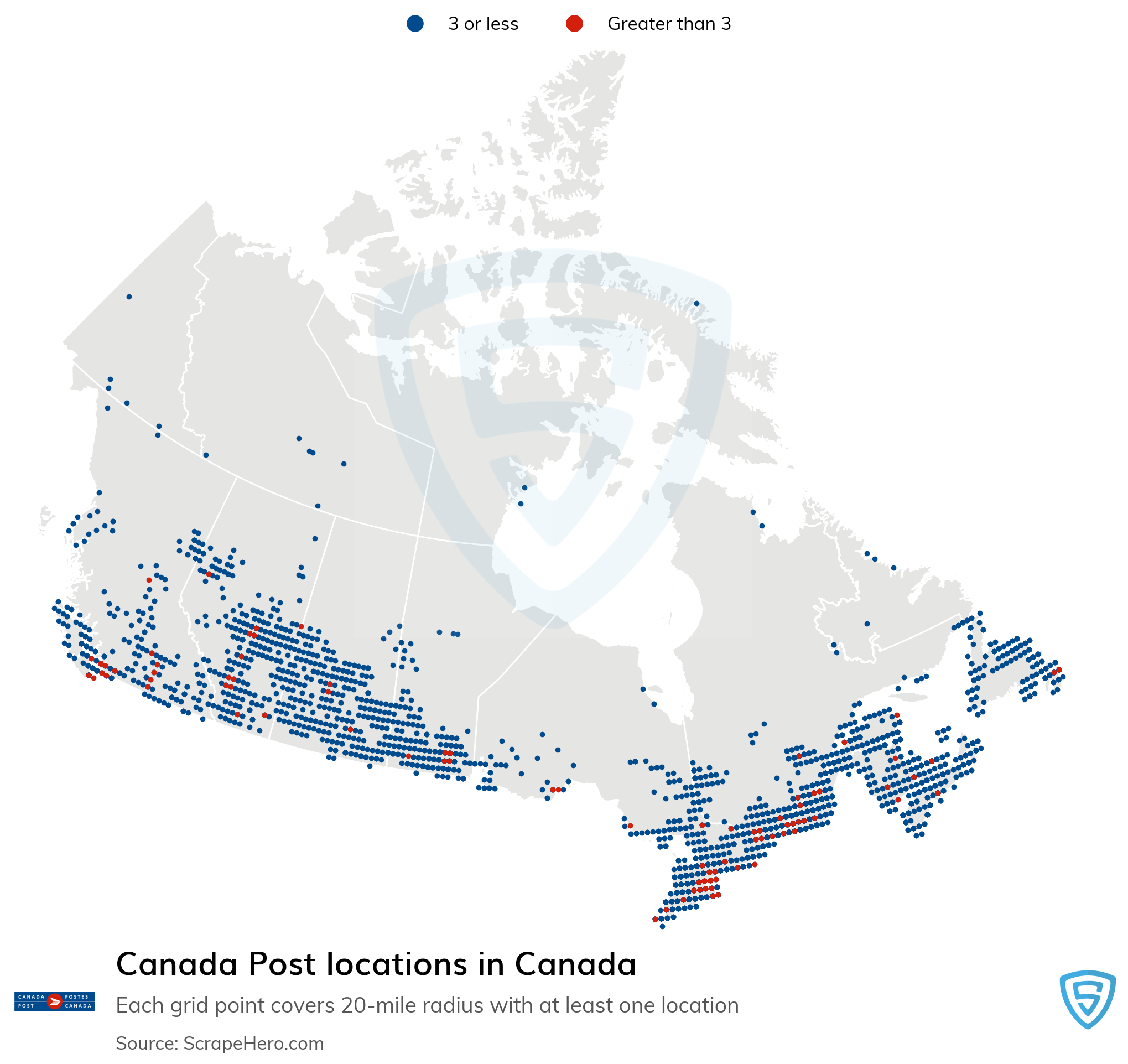 Map of Canada Post locations in Canada in 2021