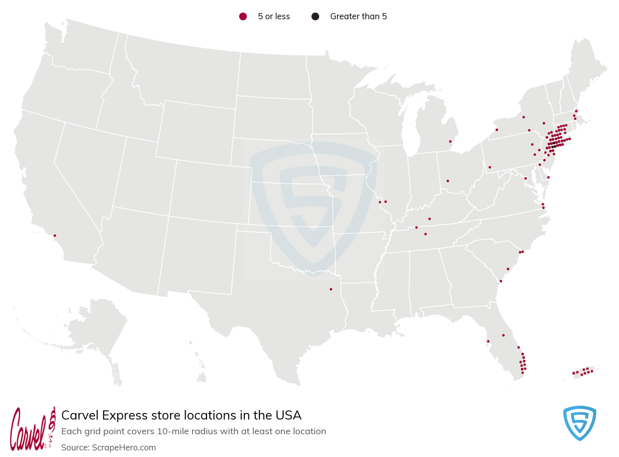 Carvel Express Store locations in the USA