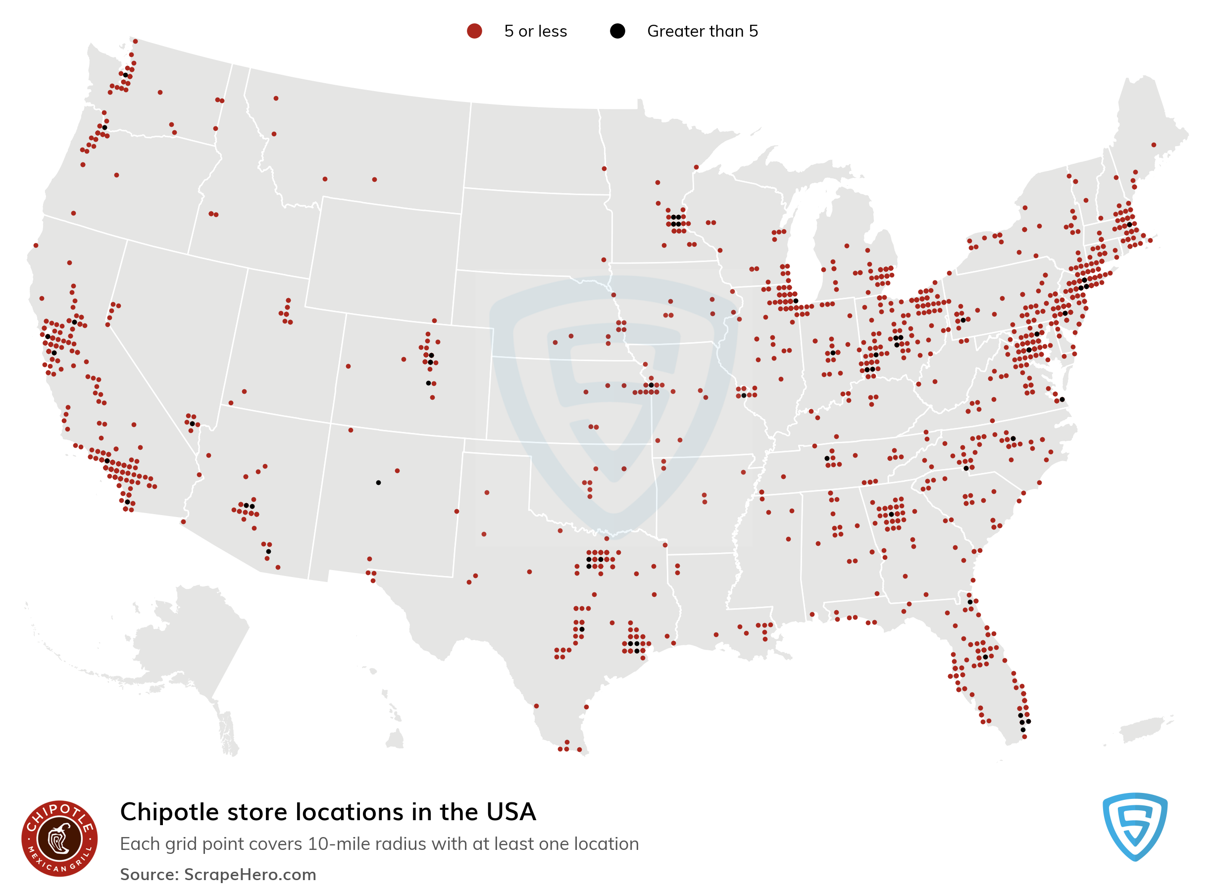 Large Map of Chipotle locations in the USA