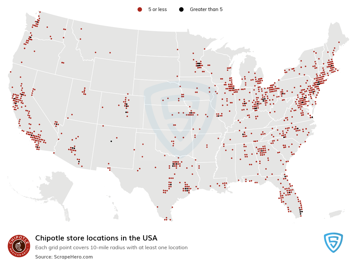 Chipotle Store locations in the USA
