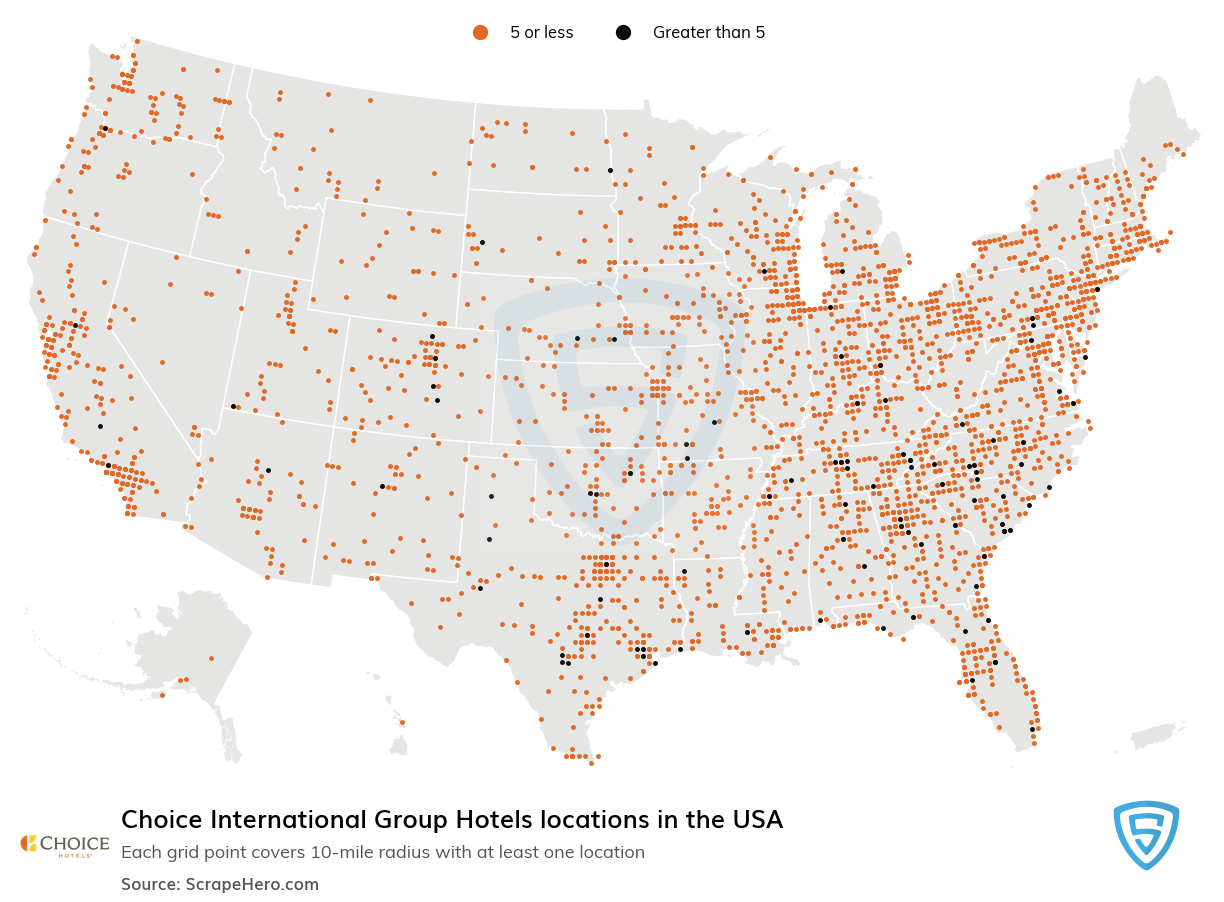Choice International Group Hotels locations in the USA