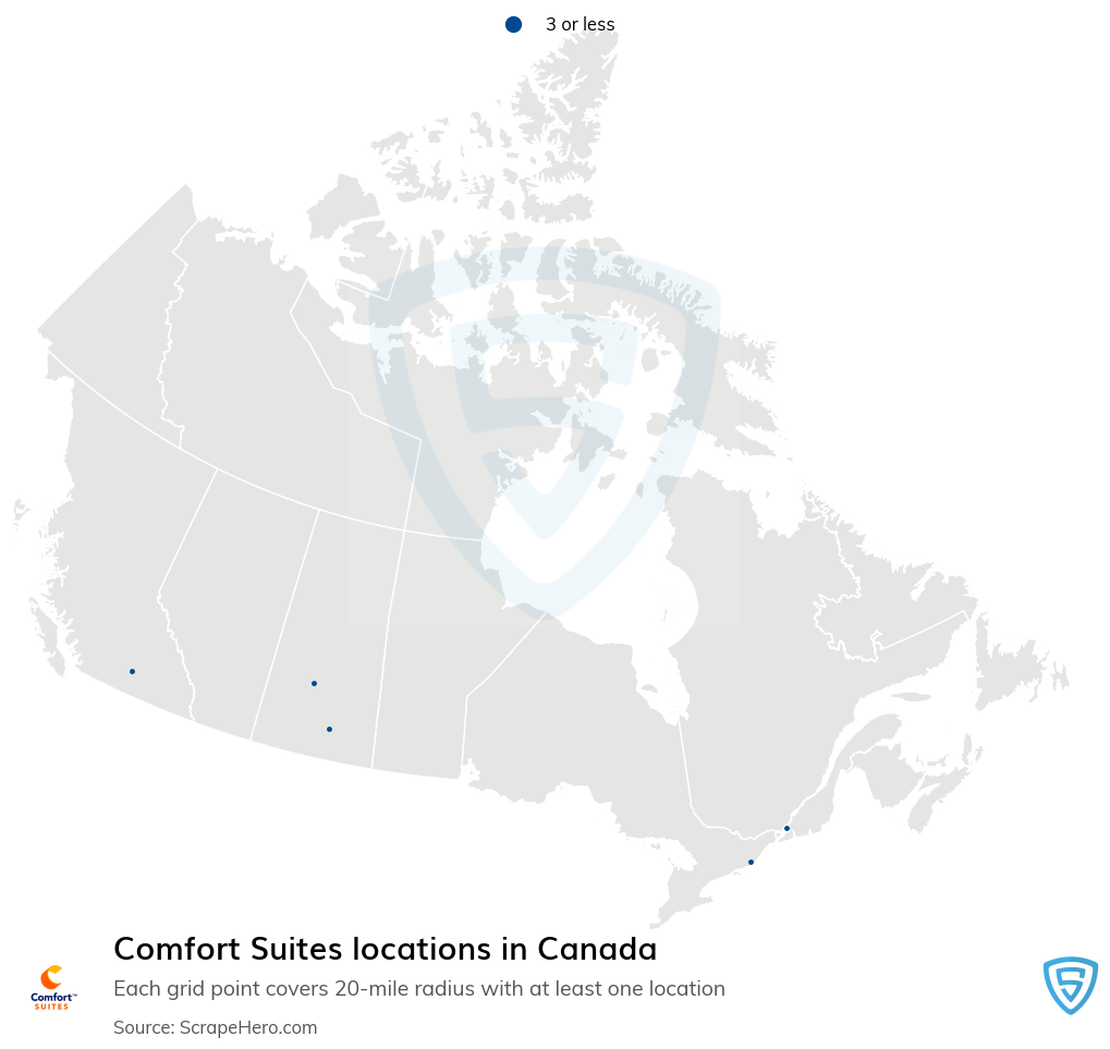 Comfort Suites Hotels locations in the Canada