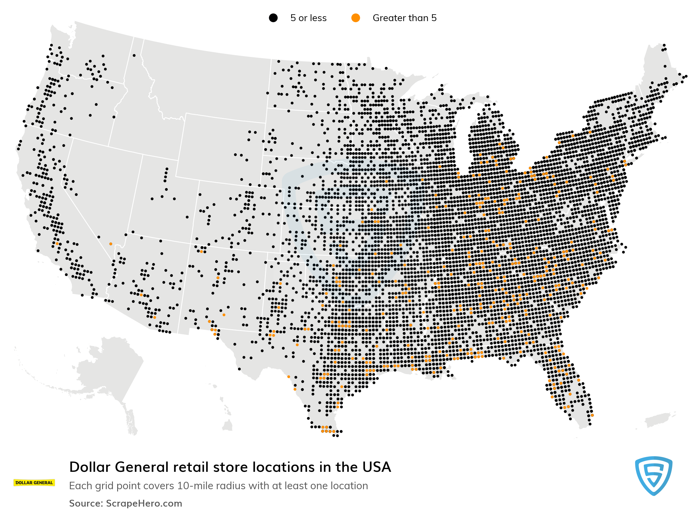 Large Map of Dollar General locations in the USA