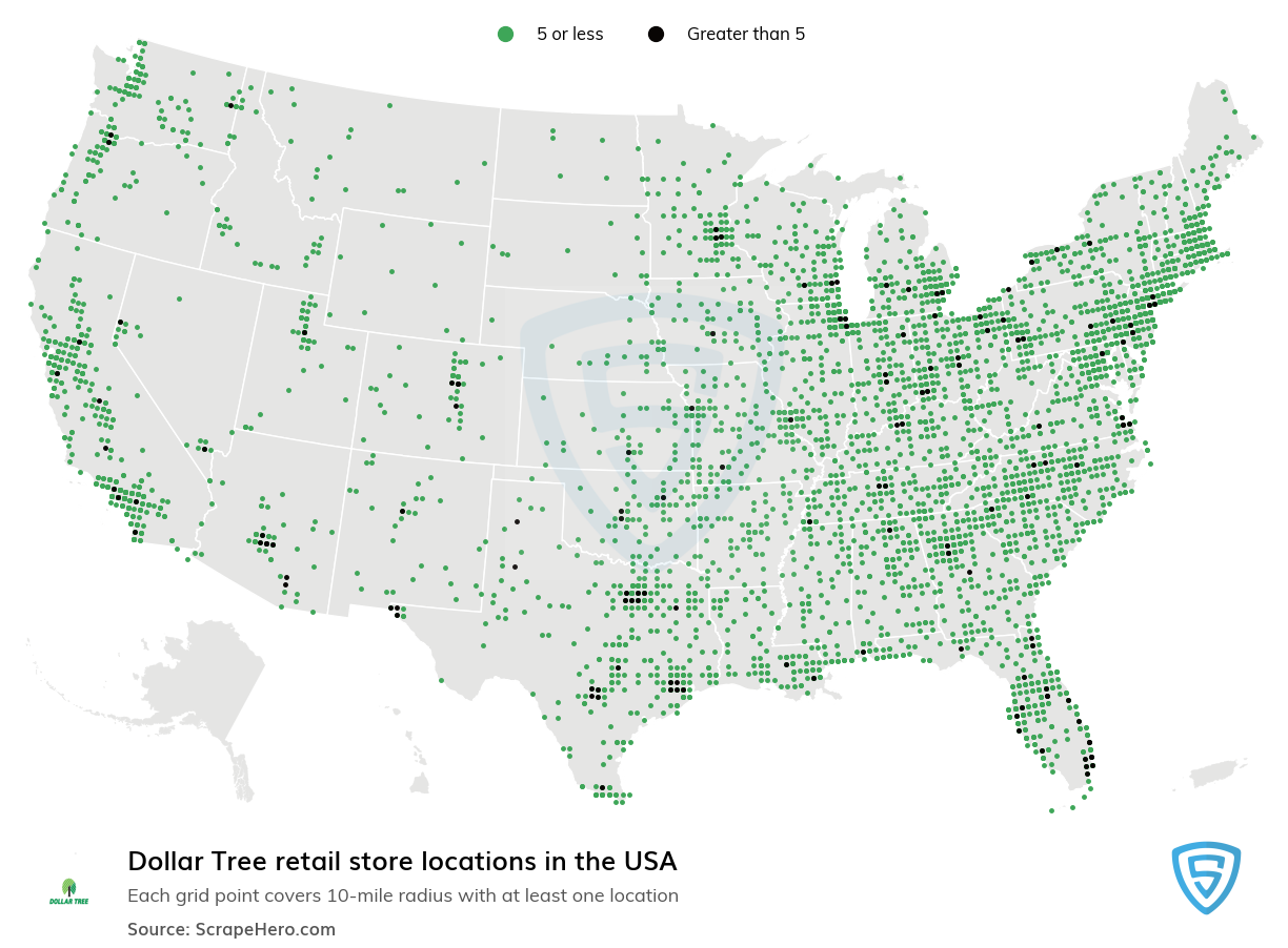Dollar Tree Store locations in the USA