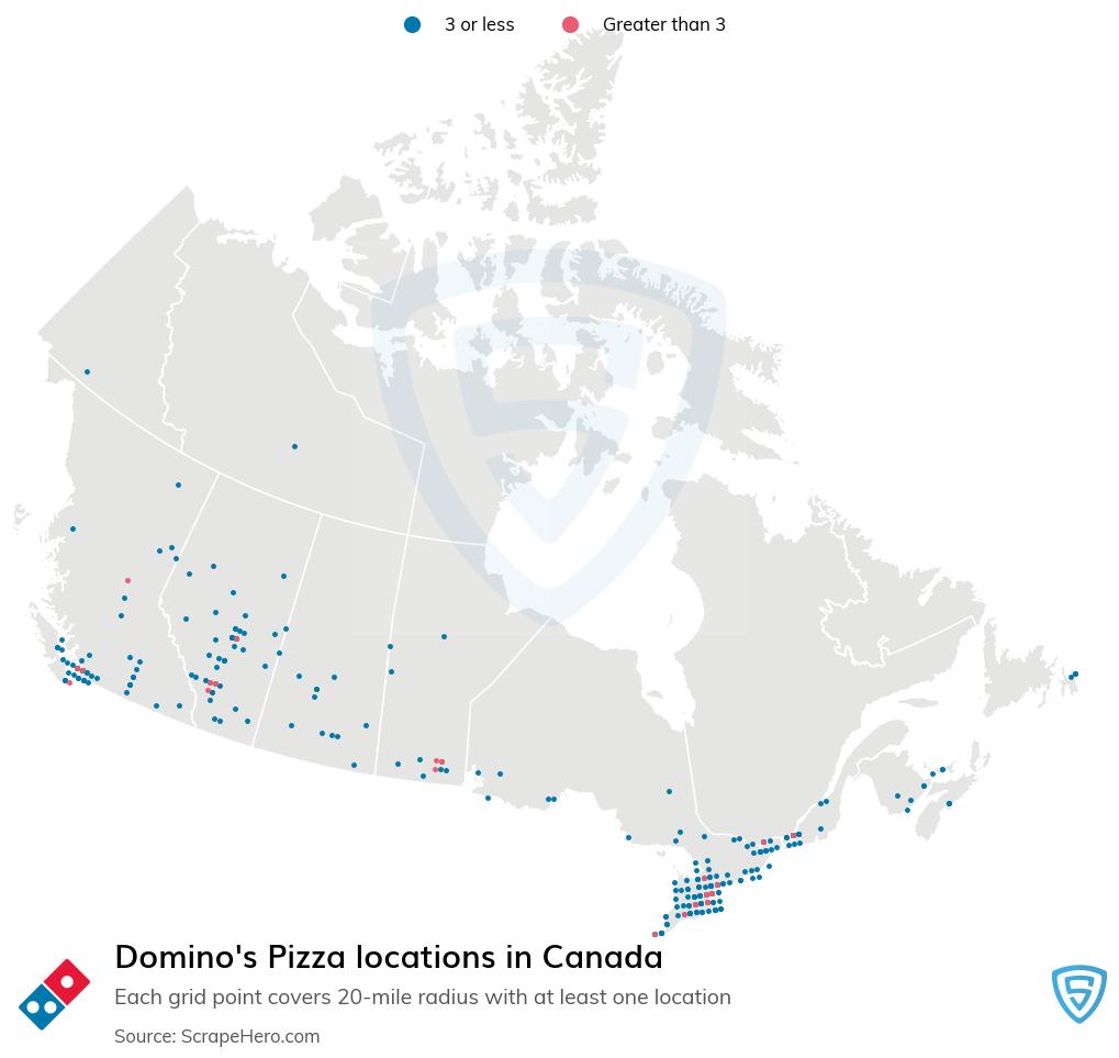Domino's Pizza Store locations in the Canada