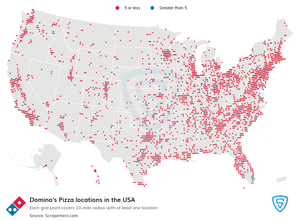 Dominos locations in the USA