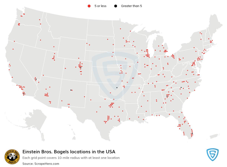 Einstein Bros. Bagels Store locations in the USA