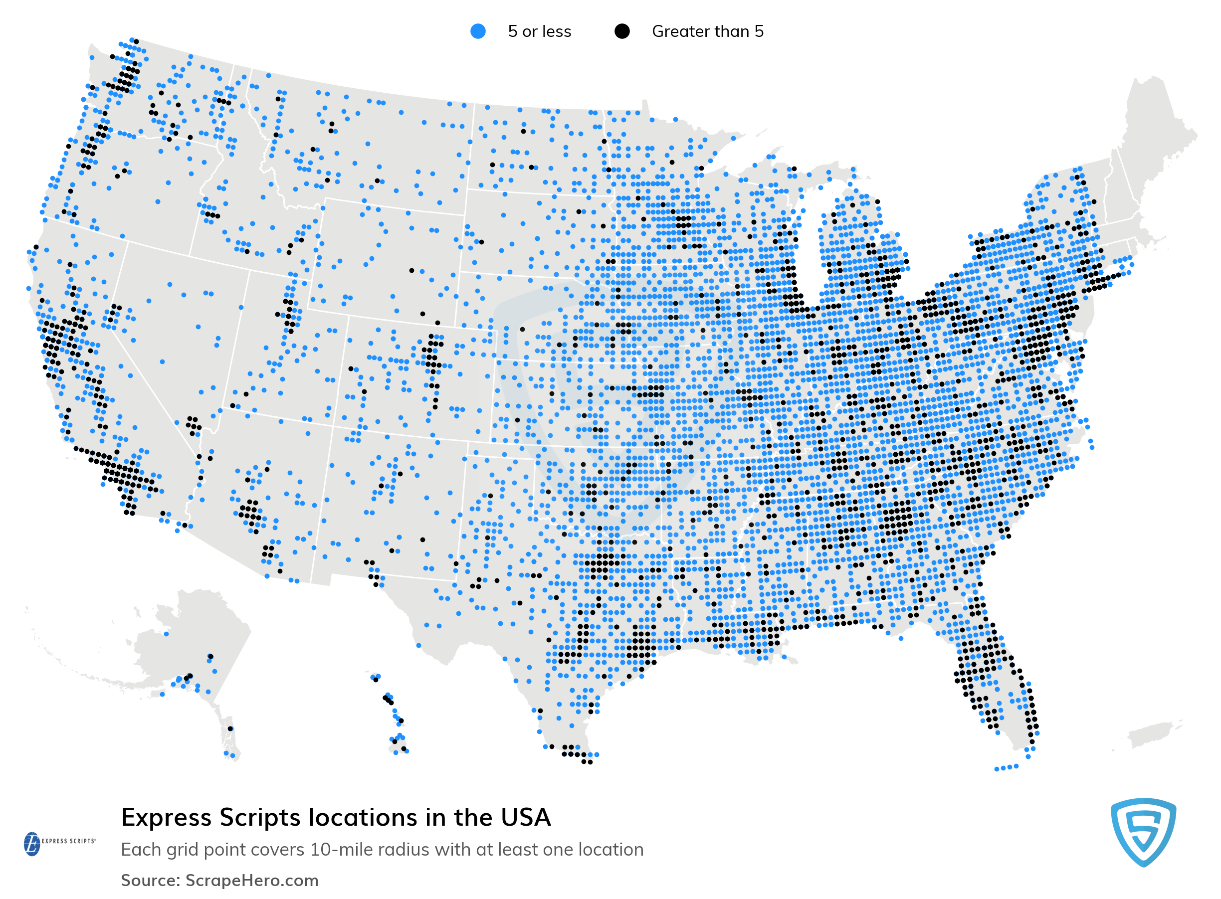 Map of Express Scripts locations in the United States in 2021
