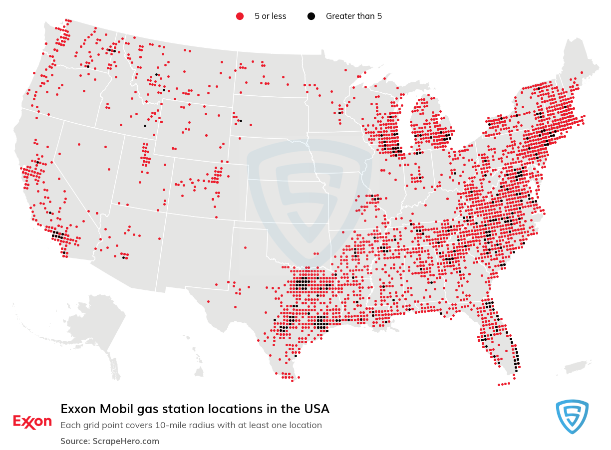 Exxon Mobil Store Locations in the USA