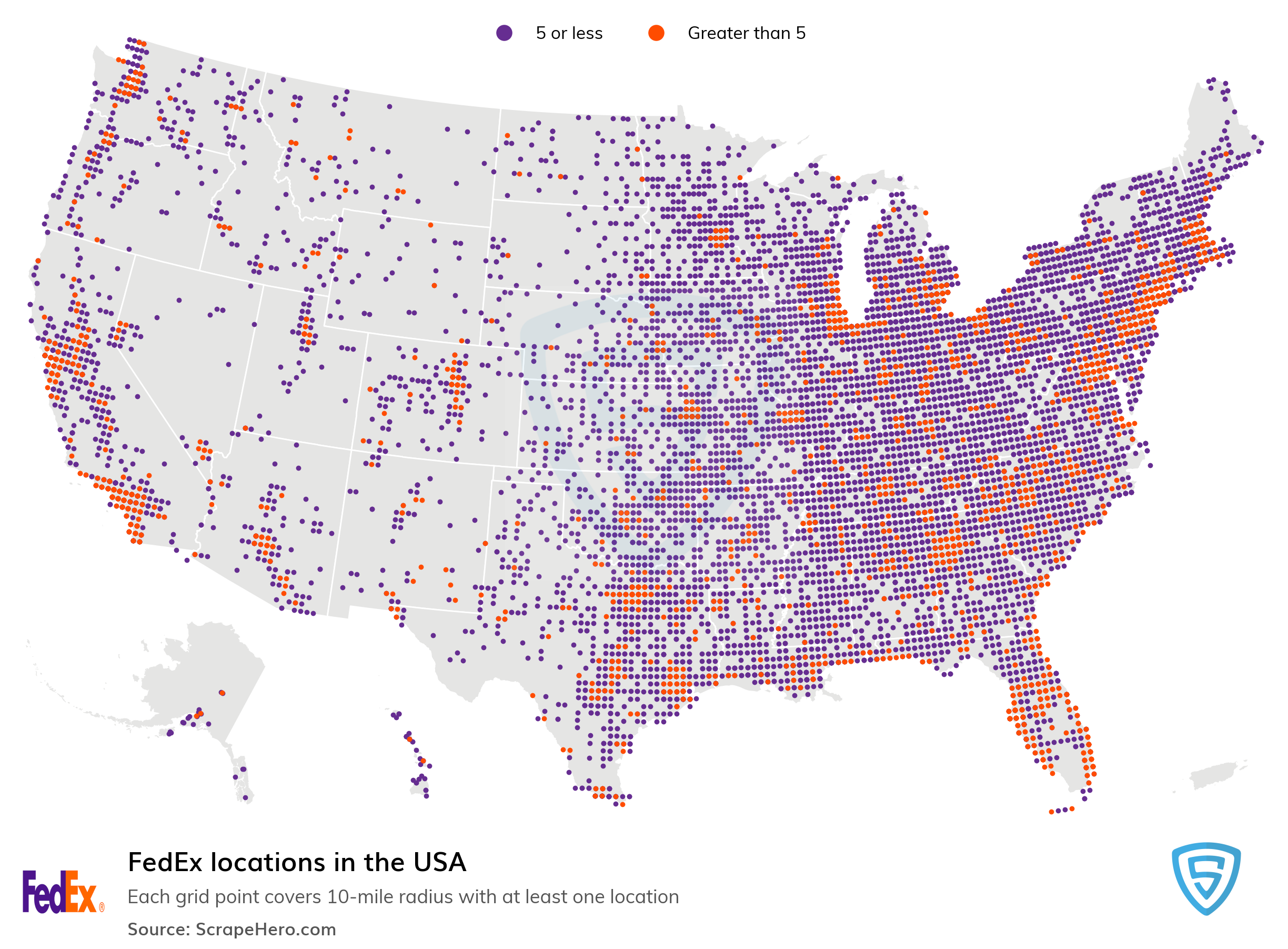 Map of FedEx locations in the United States in 2021