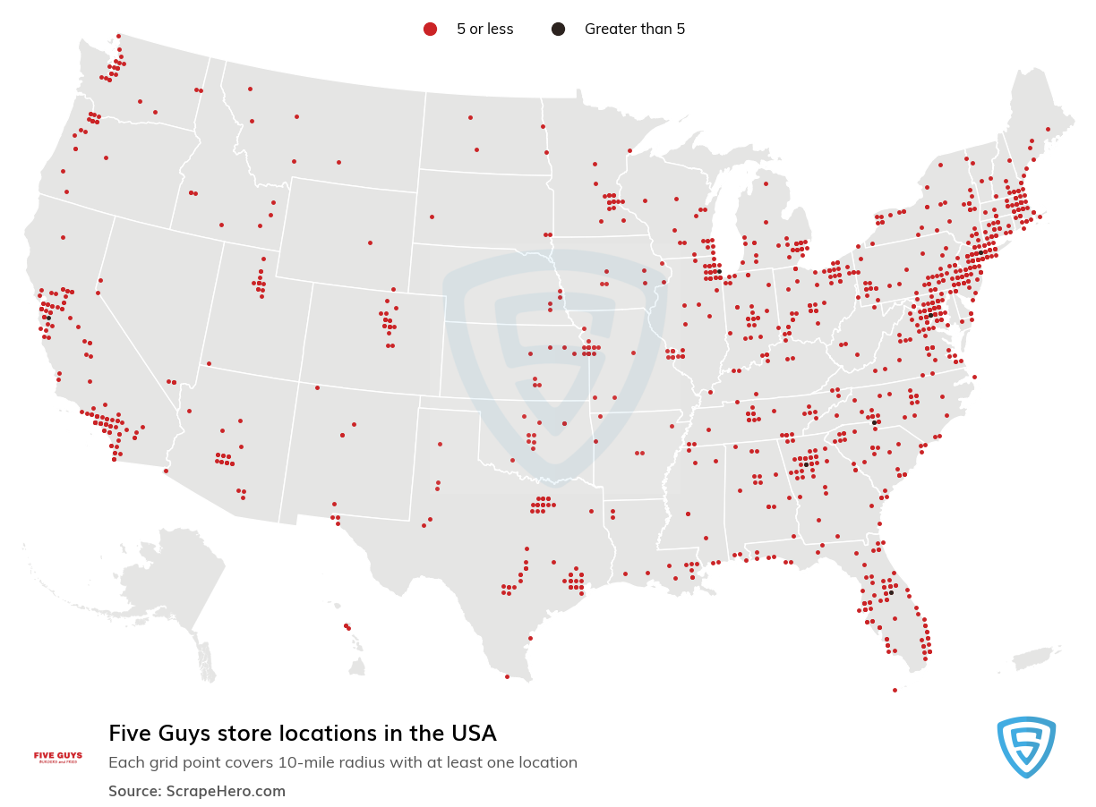 Five Guys Store locations in the USA