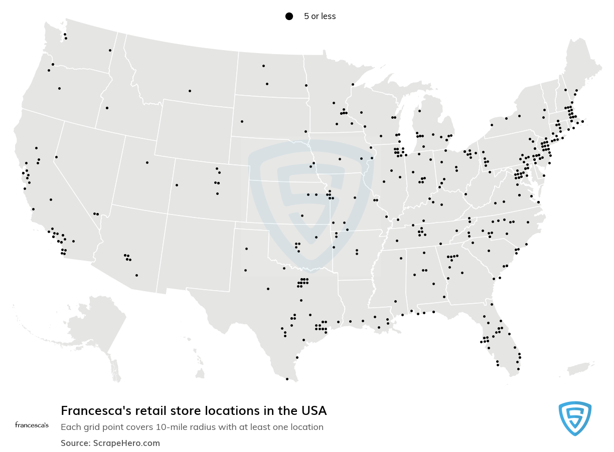 Francesca's Store Locations in the USA