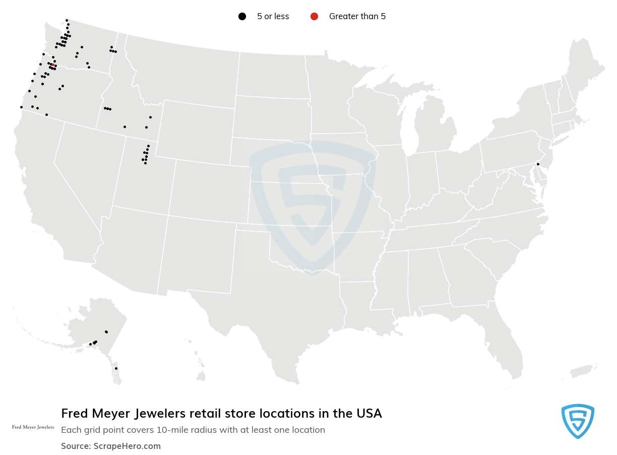 Fred Meyer Jewelers Store locations in the USA