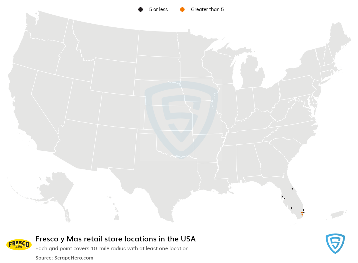 Fresco y Mas Store locations in the USA