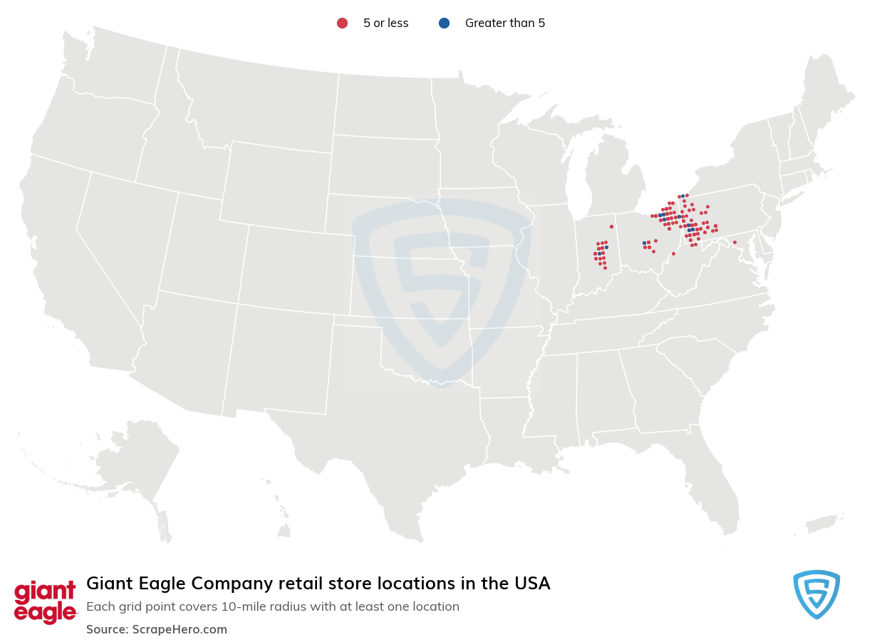 Giant Eagle Company Store locations in the USA