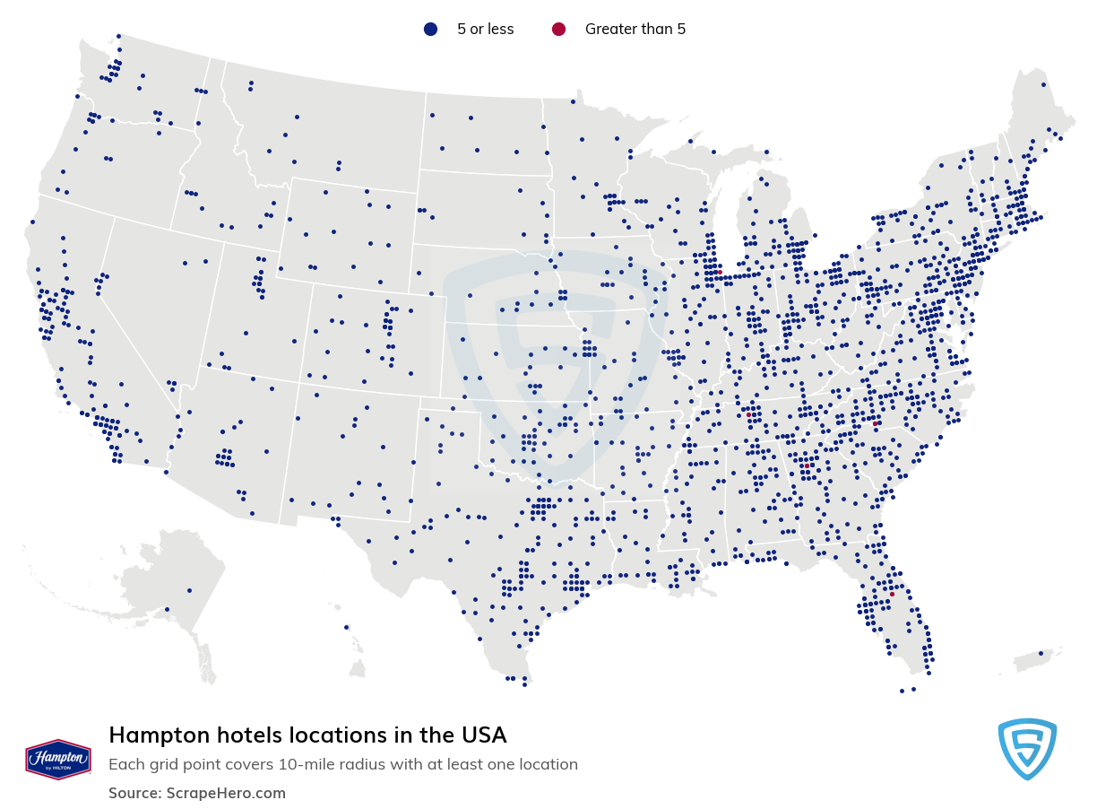 Hampton Hotels locations in the USA