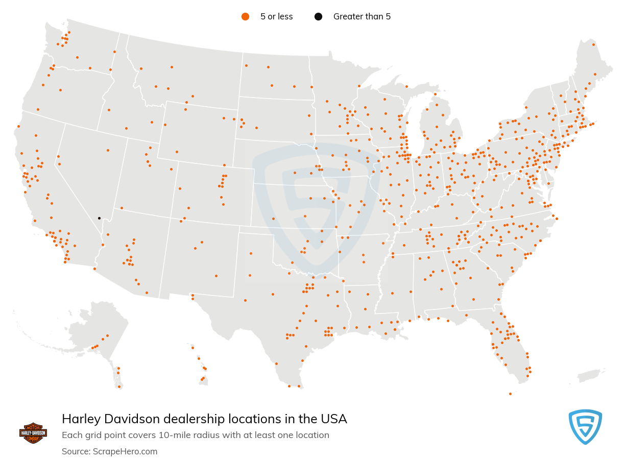 Harley Davidson Dealership locations in the USA