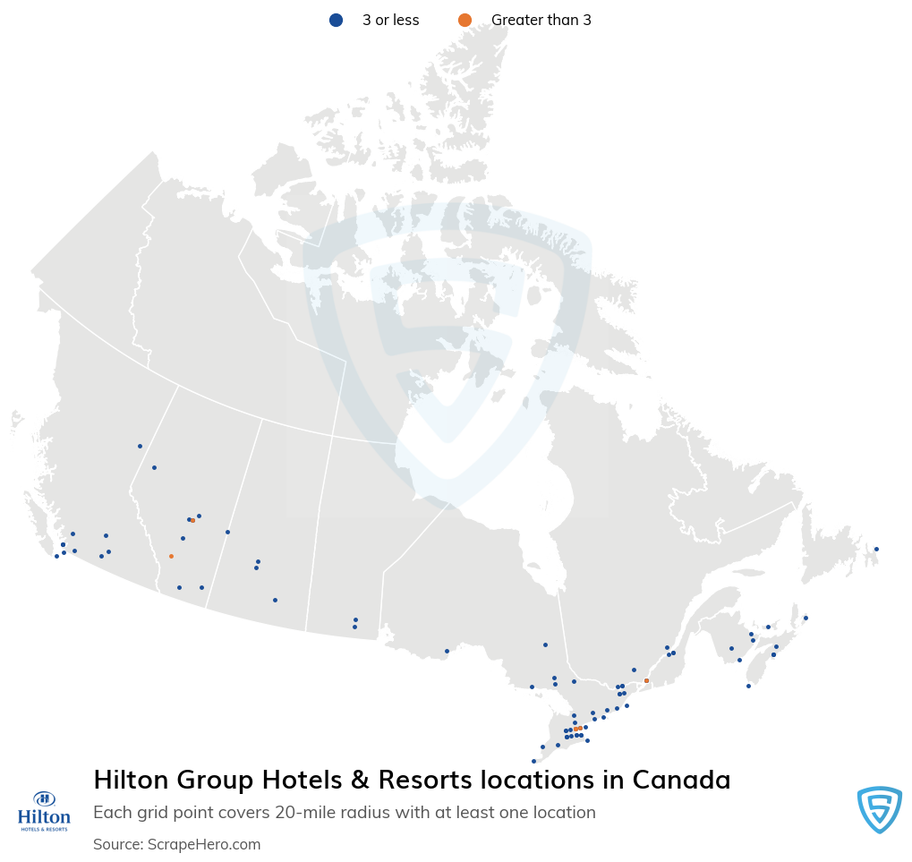 Hilton Group Hotels & Resorts locations in the Canada