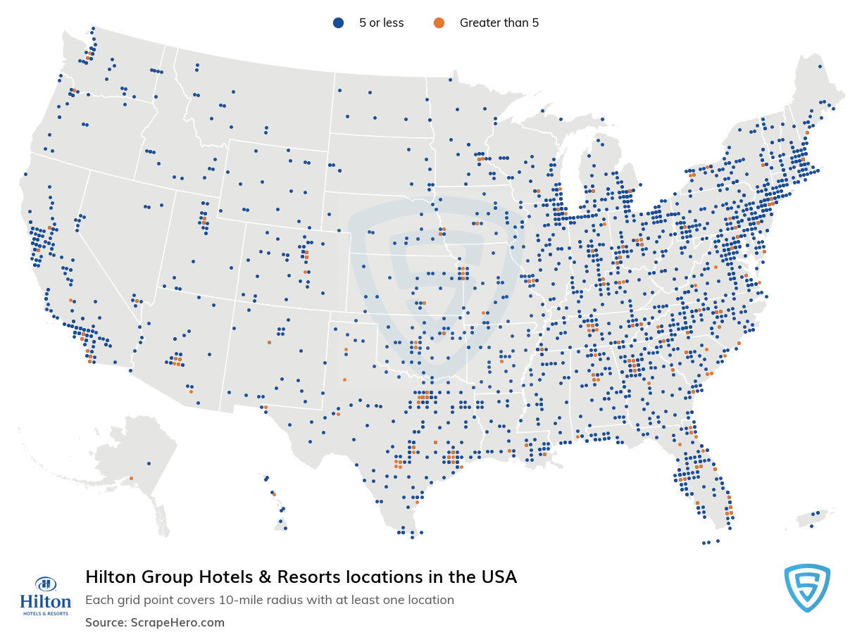 Hilton Group Hotels & Resorts locations in the USA