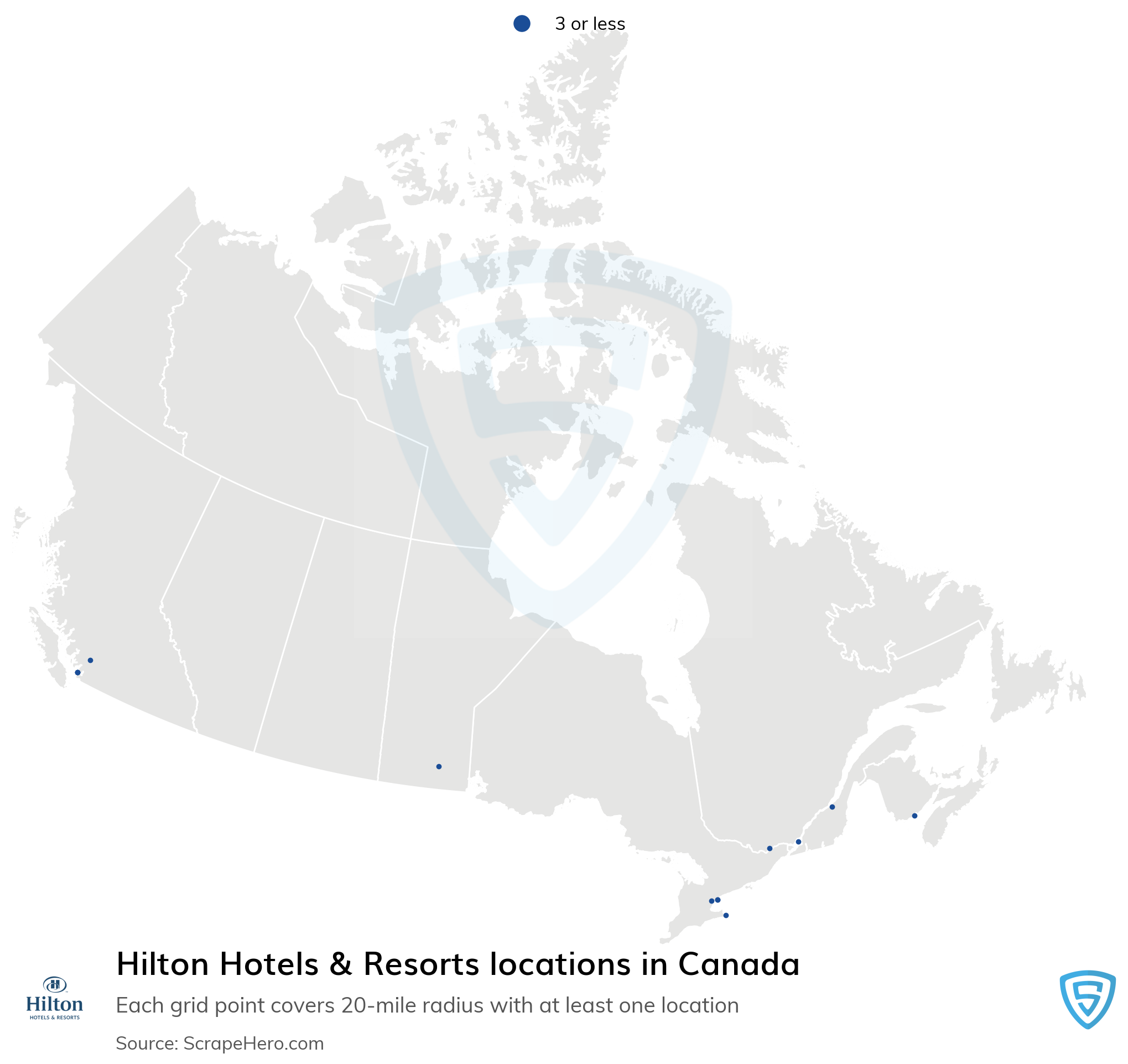 Map of Hilton Hotels & Resorts locations in Canada in 2021