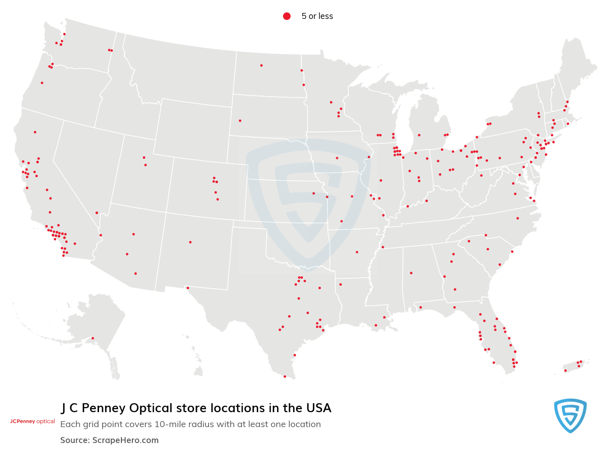 J C Penney Optical Store locations in the USA