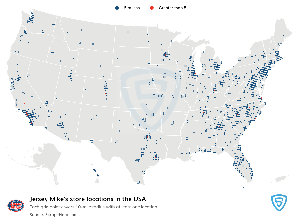 Jersey Mike's Store locations in the USA