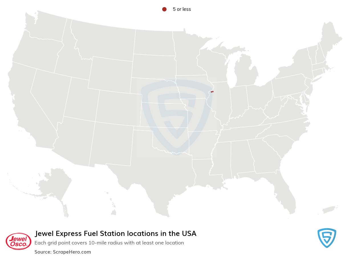 Jewel Express Fuel Station locations in the USA