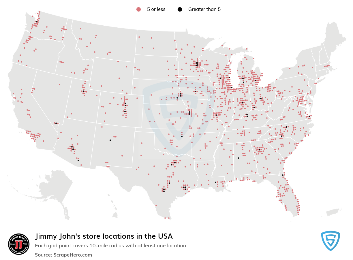 Jimmy John's Store locations in the USA