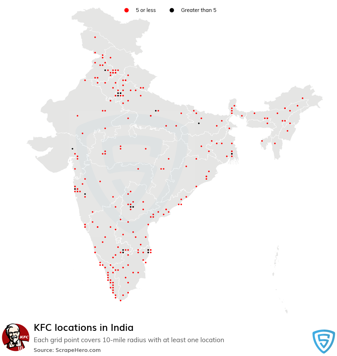 Map of KFC locations in India in 2021
